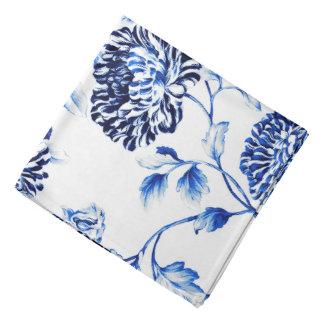 Lenço Branco antigo & Capri Toile floral botânico azul