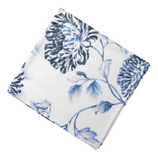 Lenço Branco antigo & pervinca Toile floral azul