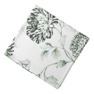 Lenço Branco & verde antigos Toile floral da espuma do