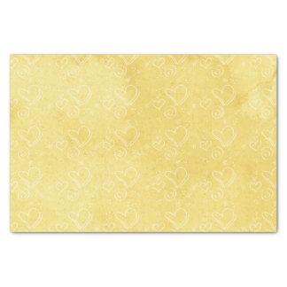 Lenço de papel amarelo do coração da aguarela