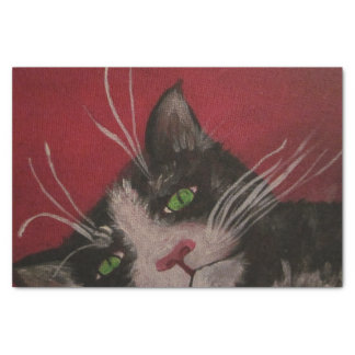 lenço de papel preto e branco do gato