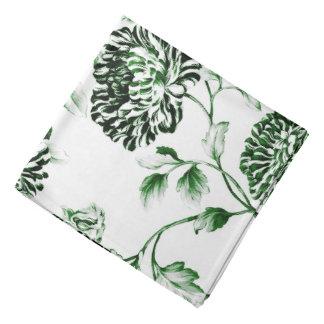 Lenço Verde branco antigo Toile floral botânico do