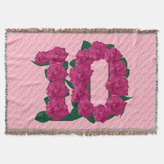 Lençol cobertura do aniversário de 10 flores bonitos do