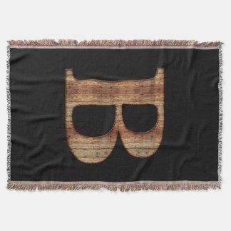 Lençol Monograma rústico da madeira do preto do vintage