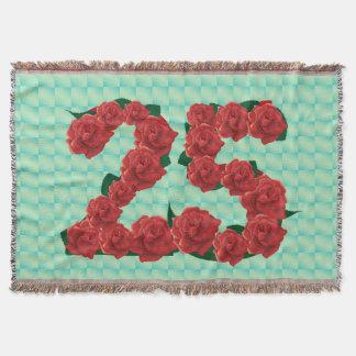 Lençol Rosas vermelhas do aniversário do número 25