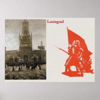 Leninegrado, com trabalhos de arte das forças arma posteres