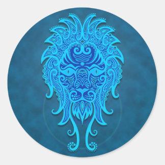 Leo tribal azul intrincado adesivo