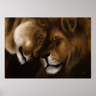 Leões - pintura de Digitas Pôster