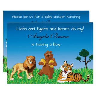 Leões, tigres, ursos oh meu - chá de fraldas convite 12.7 x 17.78cm