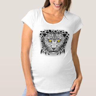 Leopardo branco com maternidade amarela T_Shirt Camisetas