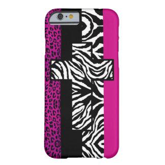 Leopardo do rosa quente e animal da zebra com cruz capa barely there para iPhone 6