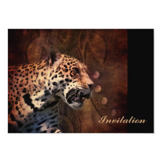Leopardo selvagem do couro primitivo do país convite 12.7 x 17.78cm
