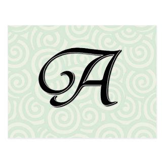 Letra A do monograma Cartão Postal