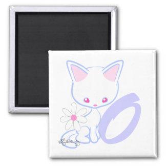 Letra bonito O do alfabeto do gato azul Imãs De Geladeira