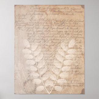 Letra do vintage e poster botânico do impressão