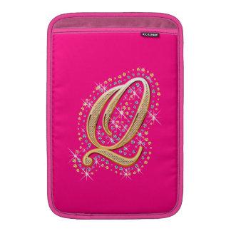 Letra dourada Q - caixa de MacBook Bolsa De MacBook Air