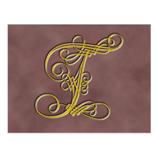 Letra extravagante T do monograma Cartoes Postais