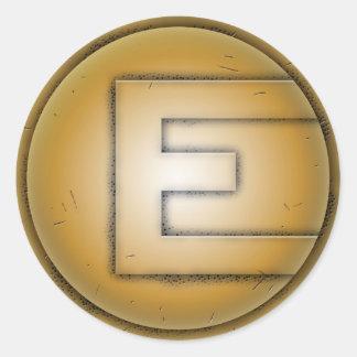 Letra inicial de E Adesivos Em Formato Redondos