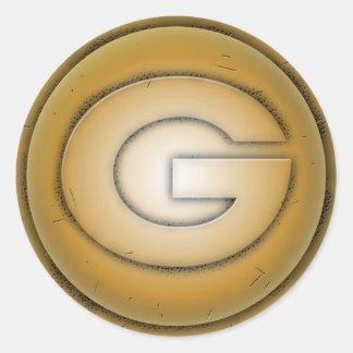 Letra inicial de G Adesivos Em Formato Redondos