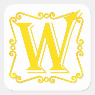 Letra W do ouro Adesivos Quadrados
