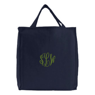 Letras feitas sob encomenda bordadas do verde da bolsas para compras