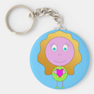 leva chaves rapariga coração verde recortar chaveiro