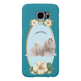 Lhasa Apso na turquesa floral Capas Samsung Galaxy S6