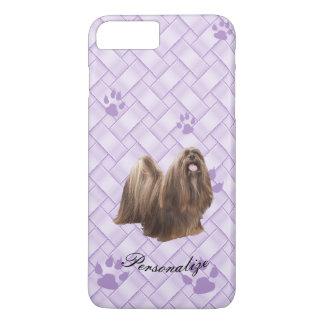 Lhasa Apso no Weave da lavanda com pawprints Capa iPhone 7 Plus