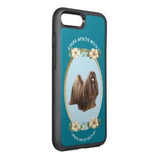 Lhasa Apso, turquesa floral Capa Para iPhone 8 Plus/7 Plus OtterBox Symmetry