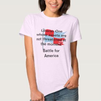 Liberal: Um cujos os recursos não são ameaçados Camisetas