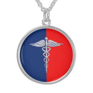 Liga médica do símbolo do Caduceus de prata do Colar De Prata Esterlina