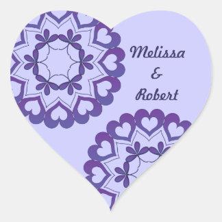Ligado pela etiqueta azul do coração do amor adesivos