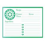 Ligado pelo cartão da receita do verde do amor cartão postal