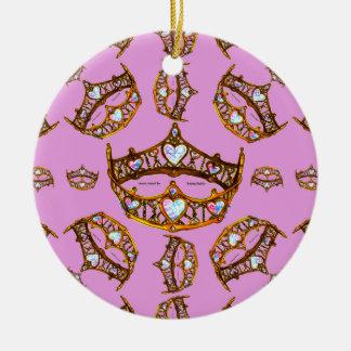 Lilac do rosa do teste padrão da tiara da coroa do ornamento de cerâmica redondo