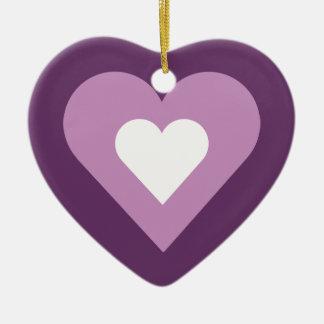 Lilac roxo bonito & coração branco ornamento de cerâmica coração