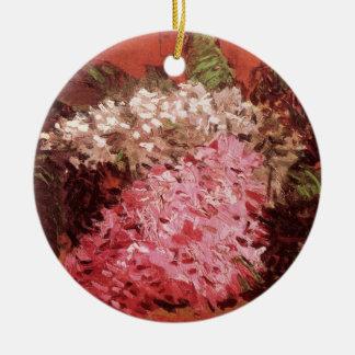 Lilacs de Van Gogh, belas artes cor-de-rosa das Ornamento De Cerâmica Redondo