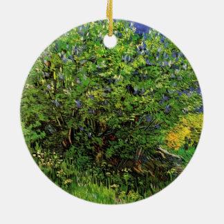 Lilacs de Van Gogh, flores do vintage, belas artes Ornamento De Cerâmica Redondo