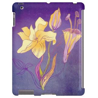Lillies amarelo bonito no fundo roxo macio capa para iPad