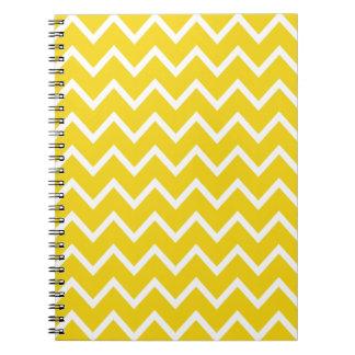Limão - ziguezague amarelo Chevron Caderno Espiral