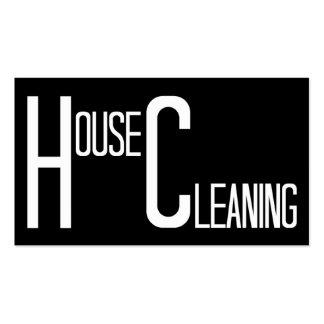 Limpeza da casa preto e branco cartão de visita