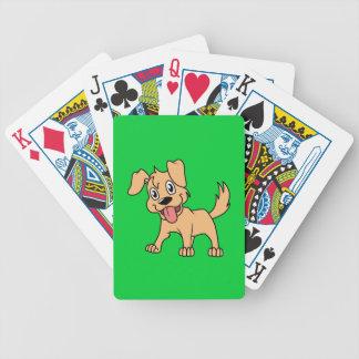 Língua de cão bonito feliz do filhote de cachorro baralhos de pôquer