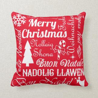 Línguas do Feliz Natal vermelhas e travesseiro Almofada