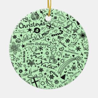 Línguas do múltiplo do Feliz Natal Ornamento De Cerâmica Redondo