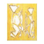 Linha abstrata amarela pintura do casal da arte po impressão de canvas esticada