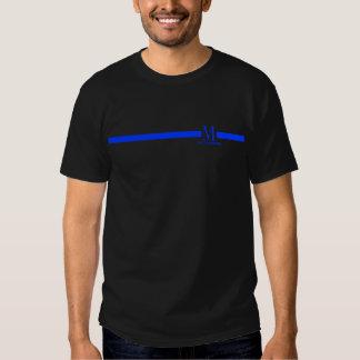 linha azul fina do monograma feito sob encomenda camiseta