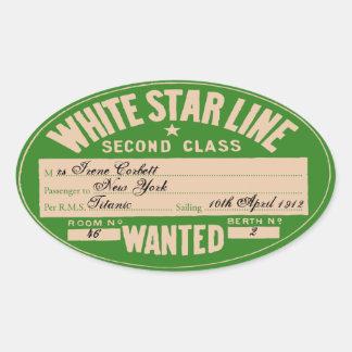 Linha branca da estrela (para personalizar) adesivo oval