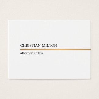 Linha branca elegante minimalista advogado do ouro cartão de visita grande