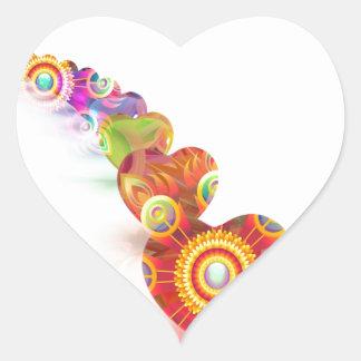 Linha de cores dos corações adesivo coração