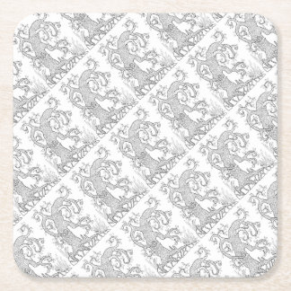 Linha design da árvore dois da arte porta-copo de papel quadrado