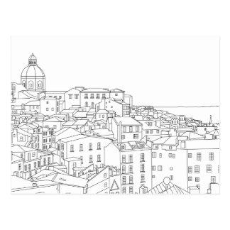 Linha preta & branca cartão da arte de Lisboa Cartão Postal